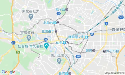 仙台市中心部の地図